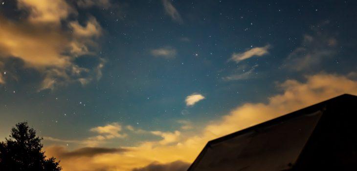 2020年9月1日、信州たてしな 白樺高原の夕陽の丘公園から、夜の風景