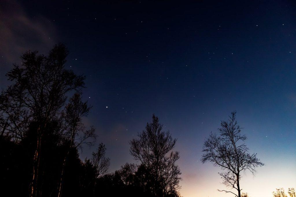 2020年10月29日、信州たてしな 白樺高原の蓼科第二牧場から南西方向、夜の星空風景。木星と土星がひときわ輝き夕暮れ後の明るい空でも目立っている。