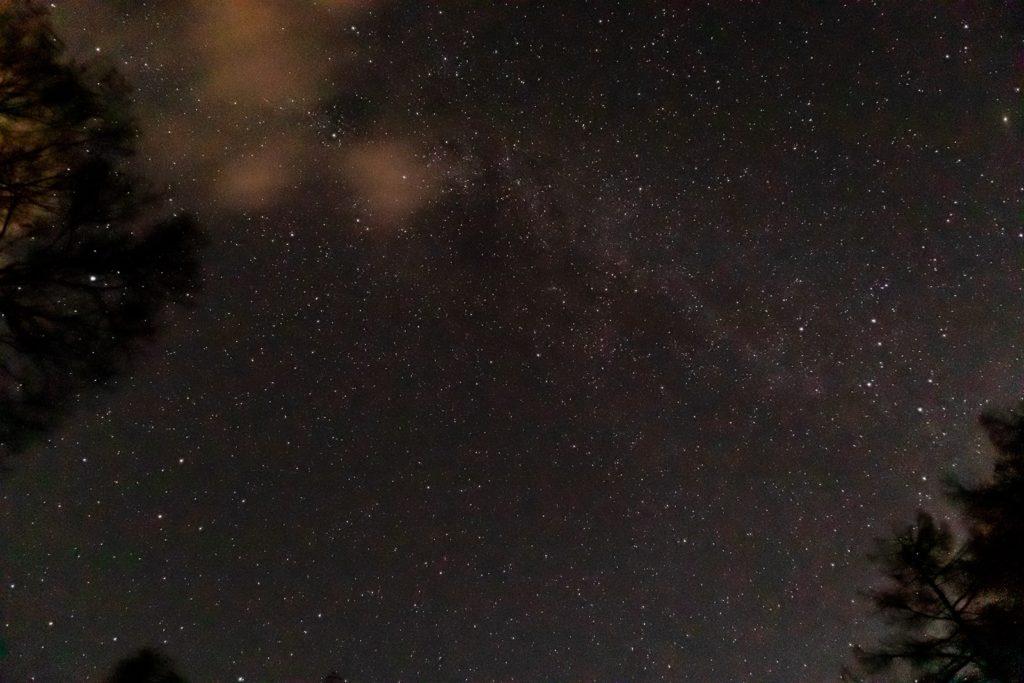 2020年11月2日、信州たてしな 白樺高原の蓼科第二牧場から北方向、夜の星空風景2。木々の間に橋がかかるように流れる天の川銀河。はくちょう座もかすかに確認できる。