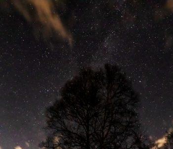 2020年11月6日、信州たてしな 白樺高原の蓼科第二牧場の上空、夜の星空風景