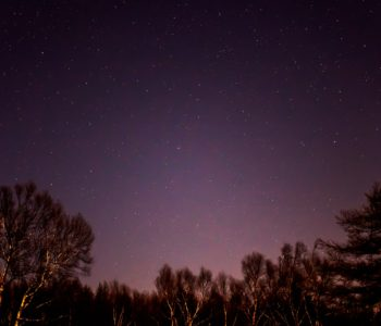 2020年11月25日、信州たてしな 白樺高原の蓼科第二牧場から北西方向、夜の星空風景