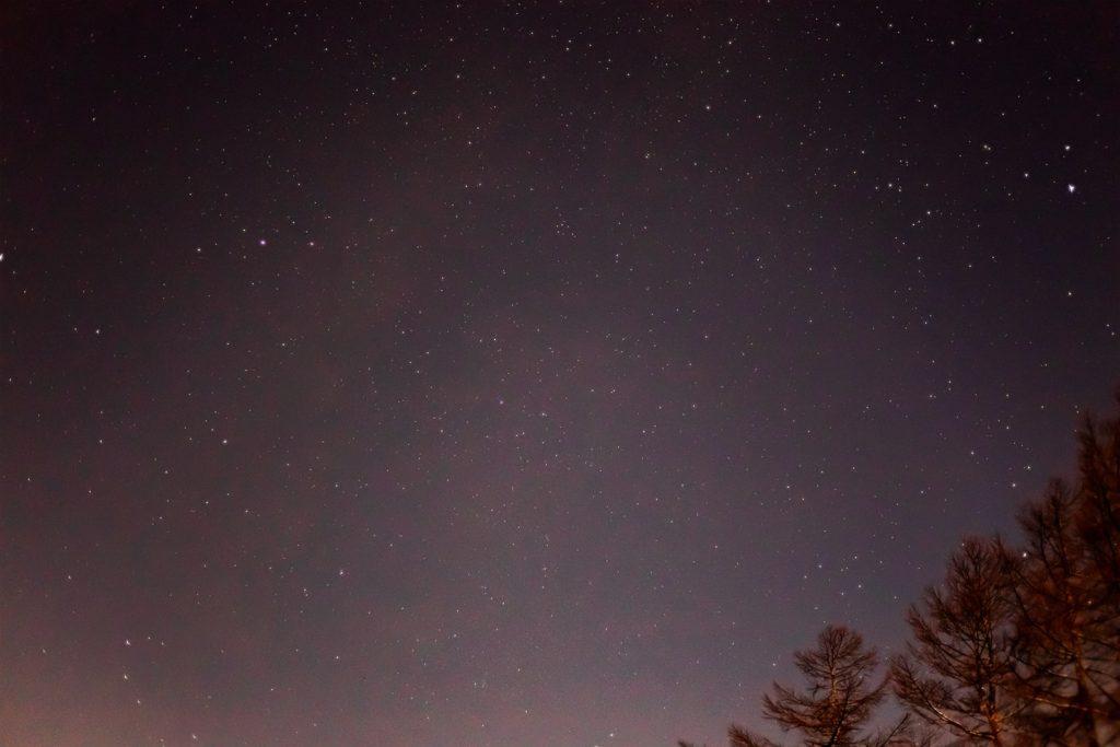 2020年11月28日、信州たてしな 白樺高原の蓼科第二牧場から西方向、夜の星空風景。天の川のほか、わし座のアルタイル(彦星)やこと座のベガ(織姫)が見えている。