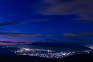 高ボッチ山から見た諏訪盆地の夜景と富士山、そして星空