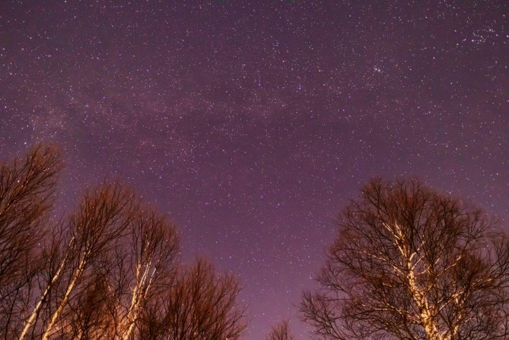 2020年12月22日、信州たてしな 白樺高原の蓼科第二牧場から北方向、夜景と星空の風景。天の川のほかケフェウス座やカシオペヤ座など
