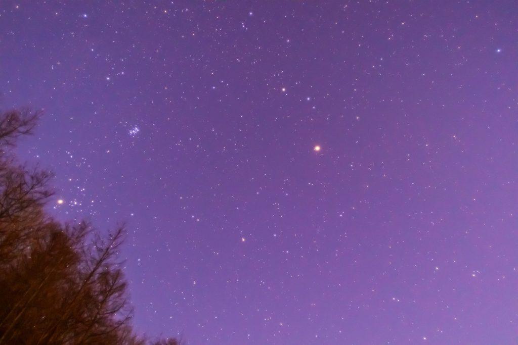 2021年1月13日、信州たてしな 白樺高原の夕陽の丘公園から、夜の星空風景。上空には火星のほかおうし座のプレアデス星団(すばる)やアルデバランが目立つ