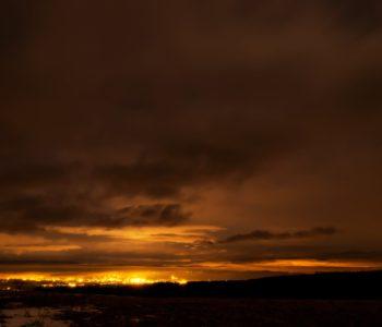 2021年1月22日、信州たてしな 白樺高原の蓼科第二牧場から、夜の風景