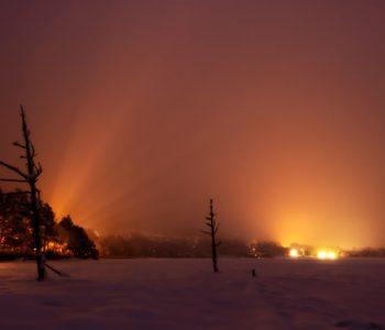 2021年1月24日、信州たてしな 白樺高原の女神湖から、夜の風景