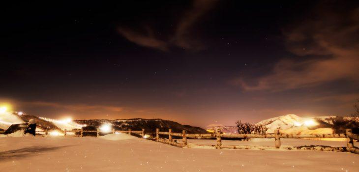 2021年1月25日、信州たてしな 白樺高原の夕陽の丘公園から見た西の空、夜の星空風景。水星の見える夜空。